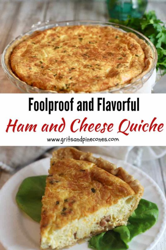 Two images of a ham and cheese quiche pinterest pin.