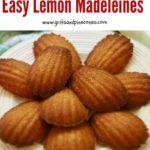 Lemon madeleines on a plate Pinterest pin.