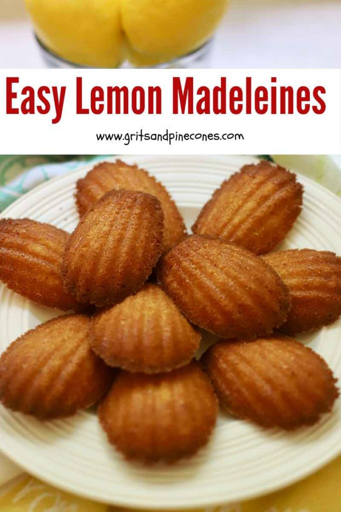Lemon madeleines on a plate Pinterest pin.