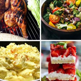 A college of grilled chicken, potato and broccoli salad and a strawberry dessert for Memorial Day.