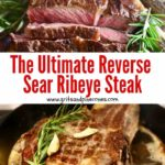 Pinterest pin image of a reverse sear ribeye steak.