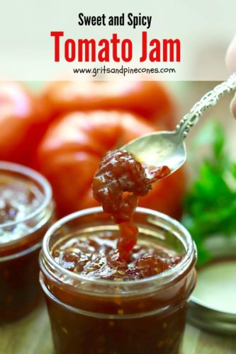 Pinterest pin for tomato jam recipe.