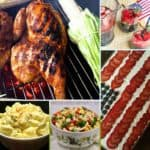 A collage of recipe images including grilled chicken and potato salad.