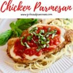 Pinterest pin for chicken parmesan recipe.