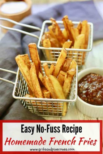 Pinterest pin, homemade french fries in a wire basket.