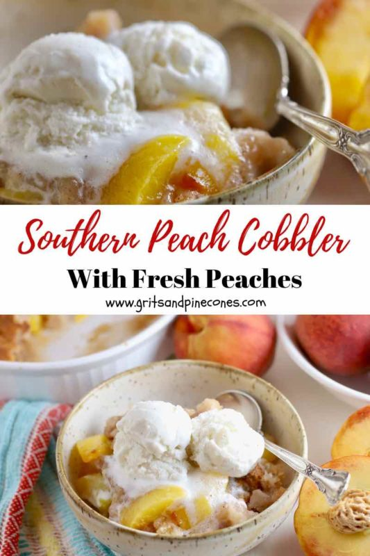 Pinterest pin image for Southern Peach Cobbler.
