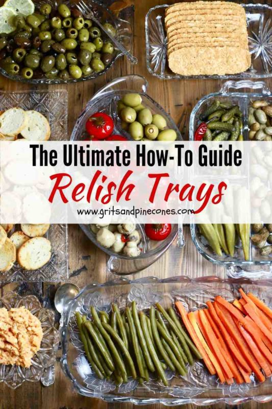 Pinterest pin with seven relish trays containing various pickled veggies.