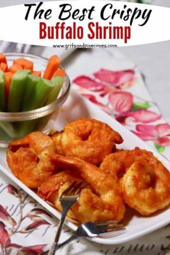 Pinterest pin, buffalo shrimp on a plate.
