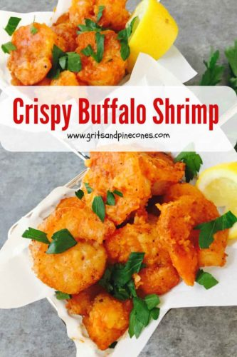 Pinterest pin for Buffalo Shrimp with pan fried shrimp in a wire basket to serve.