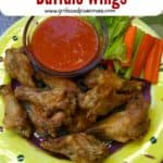 Pinterest pin showing a yellow plate with a pile of buffalo wings and sauce.