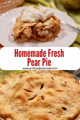 Pinterest pin showing a whole pear pie and a piece on a white plate.