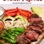 Steak fajitas Pinterest pin.
