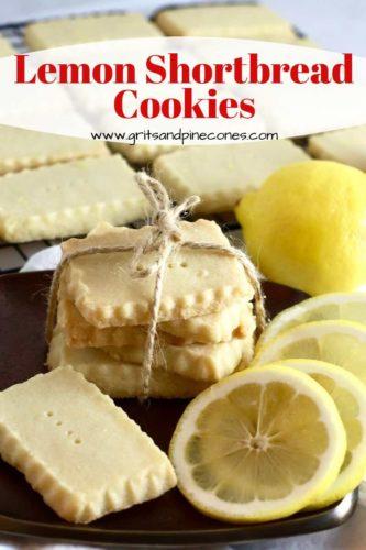 Pinterest pin showing lemon shortbread cookies and lemon slices.
