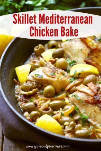 Pinterest pin for Mediterranean Chicken Bake.
