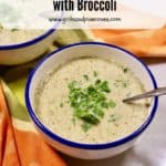 Pinterest Pin for white bean soup with broccoli.