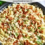 Pinterest pin for Chicken and Bacon Pasta.