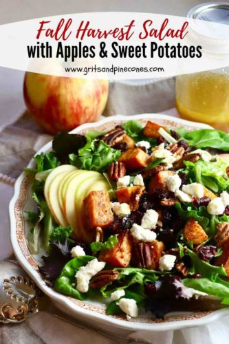 Pinterest pin for Fall Harvest Salad showing the salad.