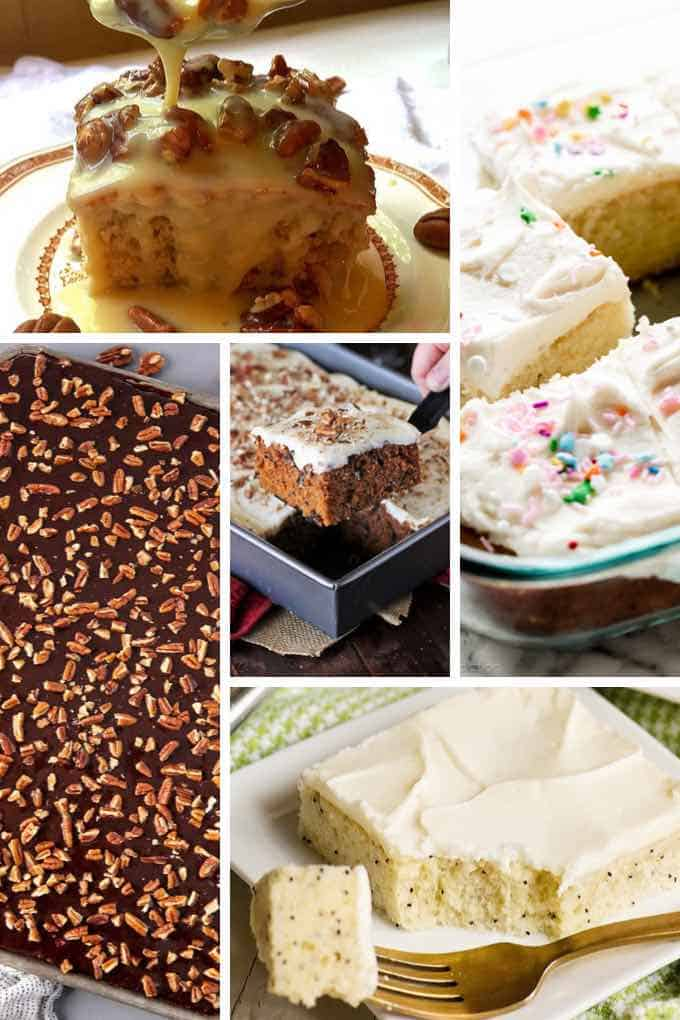 Featured image for roundup post 27 Sheet Cake Recipes with four pictures of sheet cakes.
