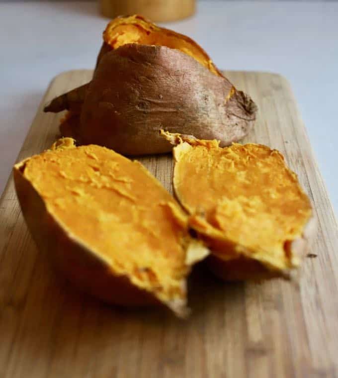 Cooked sweet potatoes for sweet potato bread.