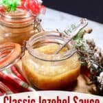 Pinterest pin for jezebel sauce.