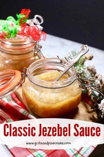 Pinterest pin for jezebel sauce.
