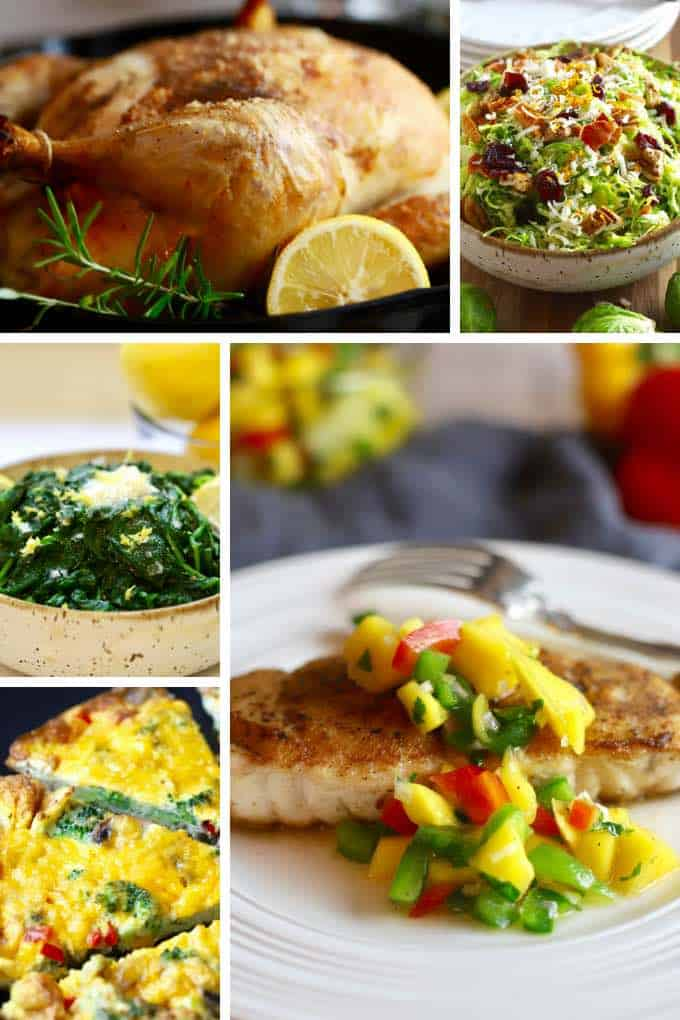 A collage of healthy recipes including salmon, spinach, sweet potato hash and brussels sprouts.