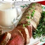 Pinterest pin for whole beef tenderloin with onion blue cheese sauce.