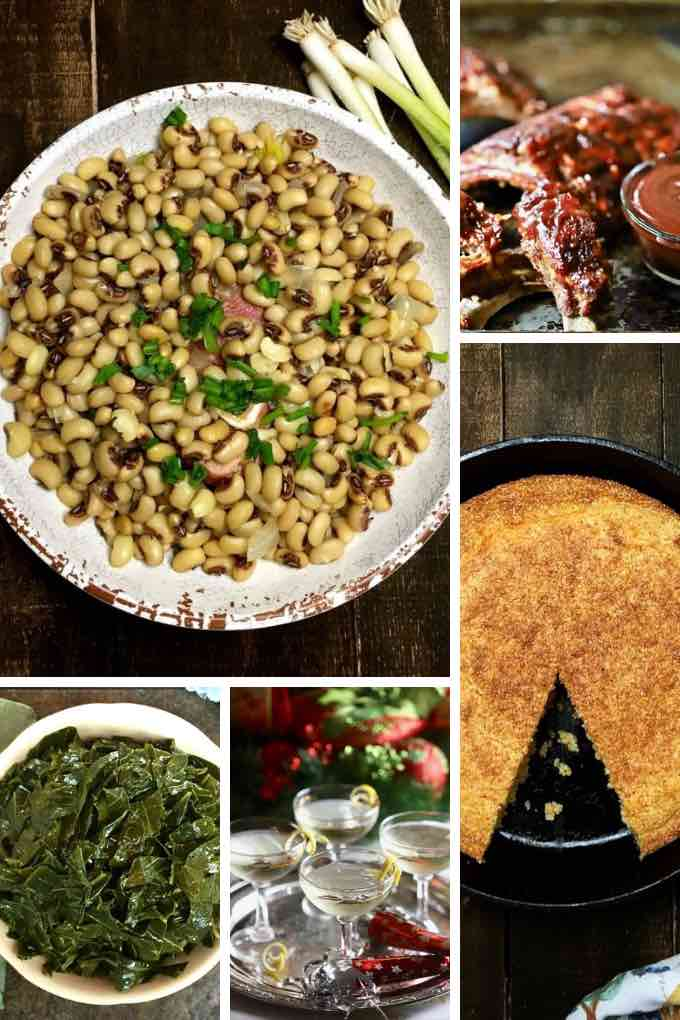 A roundup image of black-eyed peas, collard greens, cornbread and pork.