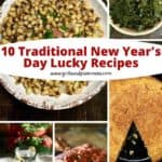Pinterest pin of lucky New Year's Day dishes including pork, greens, cornbread and black-eyed peas.