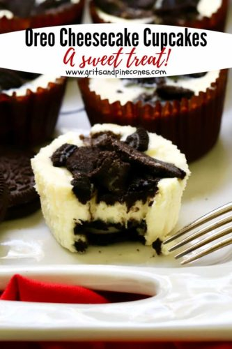 Pinterest pin for Oreo Cheesecake Cupcakes with a cheesecake with a bite taken out.