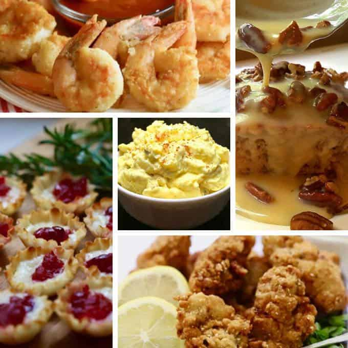 Collage of best recipes of 2019 including fried shrimp and oysters, potato salad and brie bites.