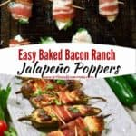 Pinterest pin, baked jalapeno poppers on a white serving plate.