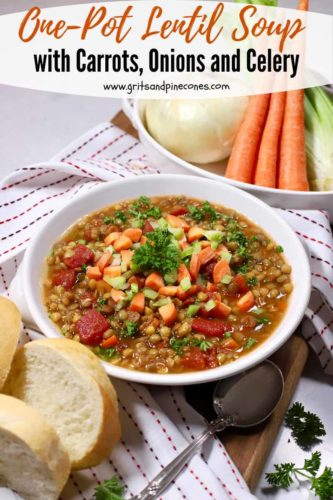 Pinterest pin showing a bowl of lentil soup in a white bowl topped with carrots and celery.