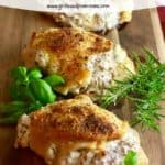 Pinterest pin for stuffed chicken breasts.