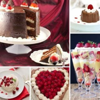 A collage of five chocolate Valentine's Day desserts including cakes and meringues.