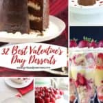 Pinterest pin showing five Valentine's Day desserts.