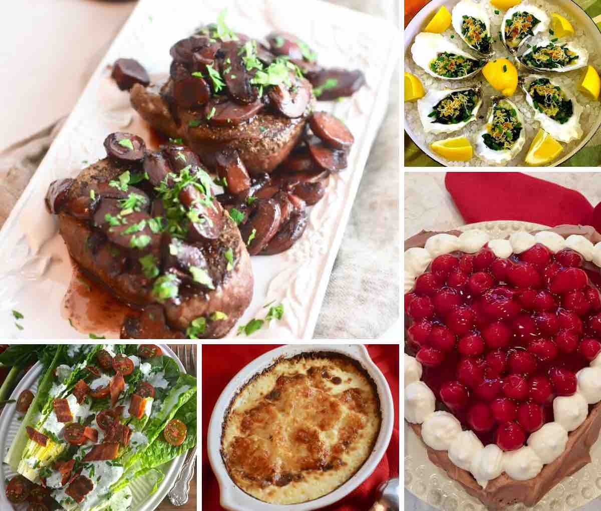 A collage of menu ideas for Valentine's Day including steak, potatoes and dessert.