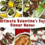 Pinterest pin for Valentine's Day menu ideas.