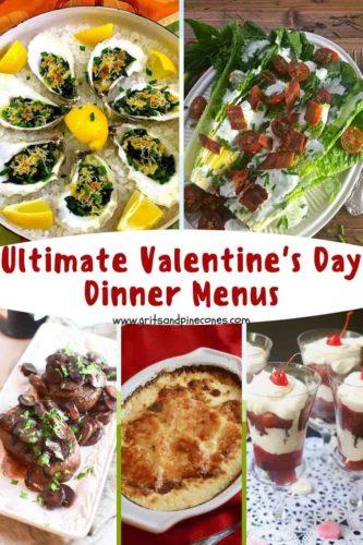 Pinterest pin for Valentine's Day menu ideas.