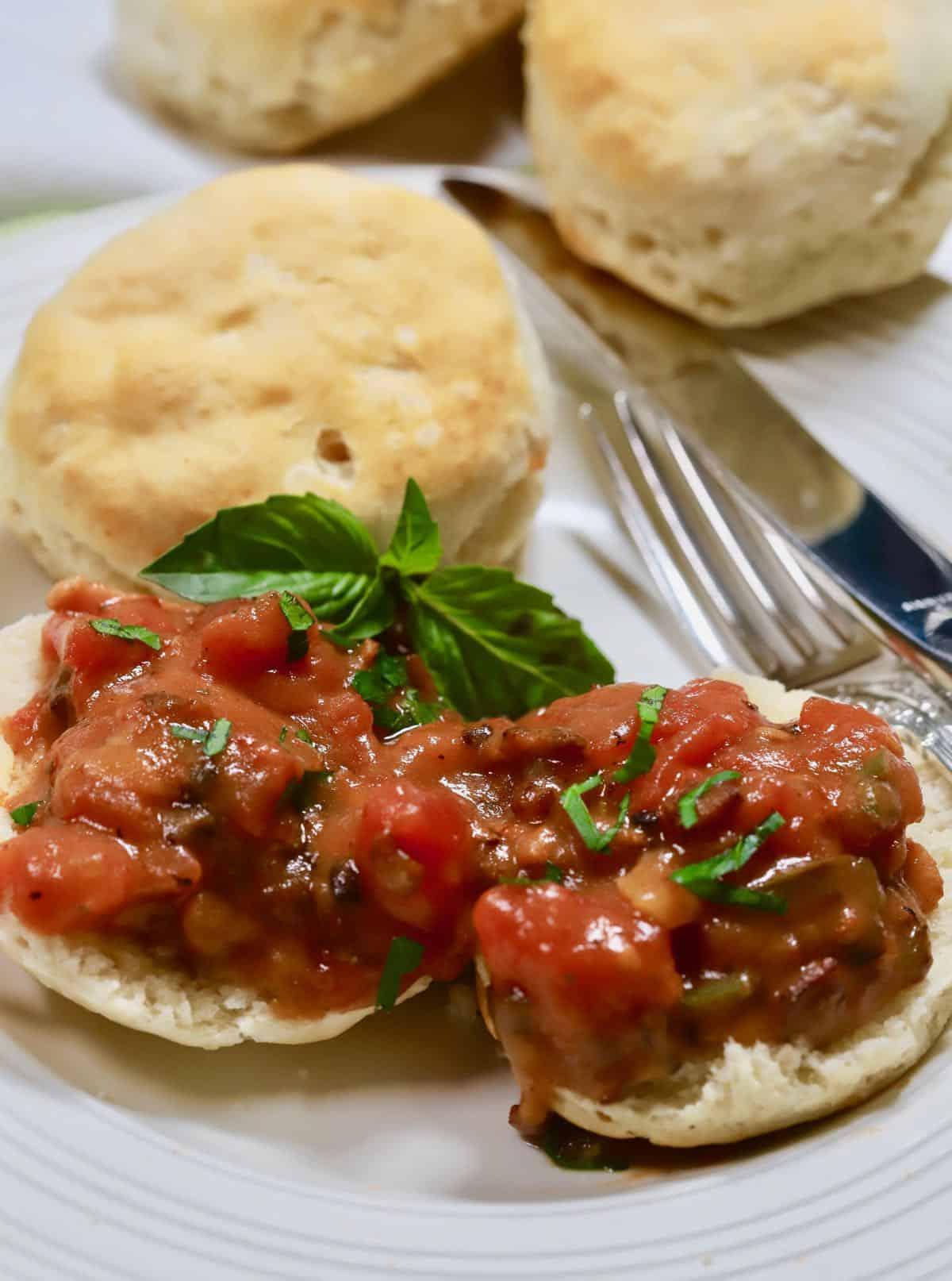 Tomato gravy over biscuit halves.