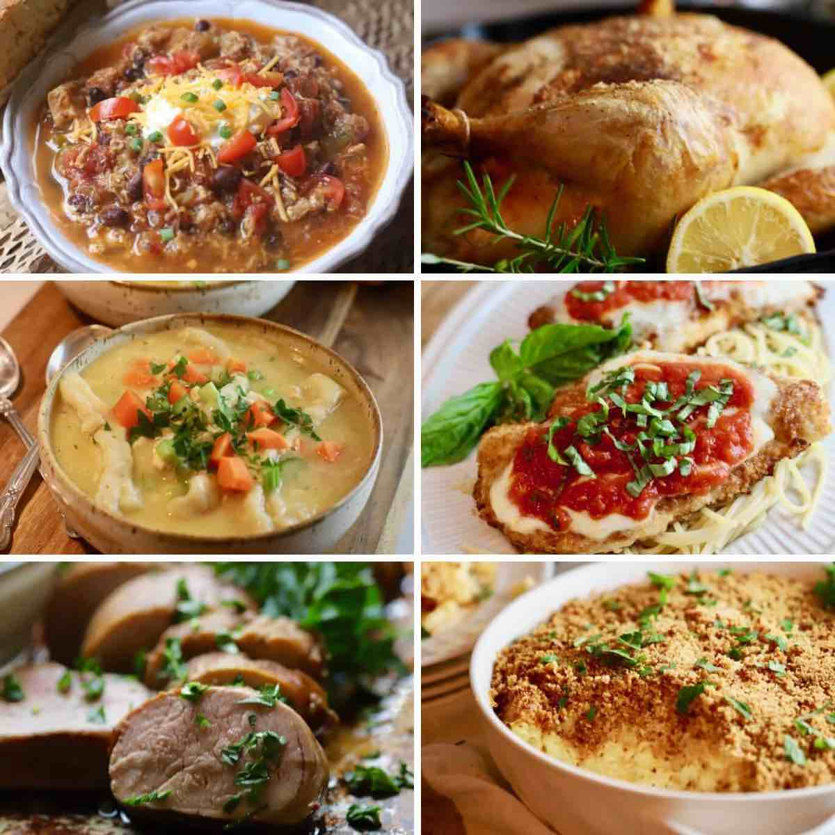 Collage of six casseroles.