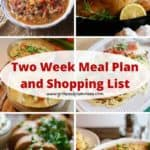 Pinterest pin showcasing six casseroles for a meal plan.