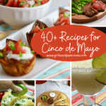 Collage of Cinco de Mayo dishes including tacos and margaritas.