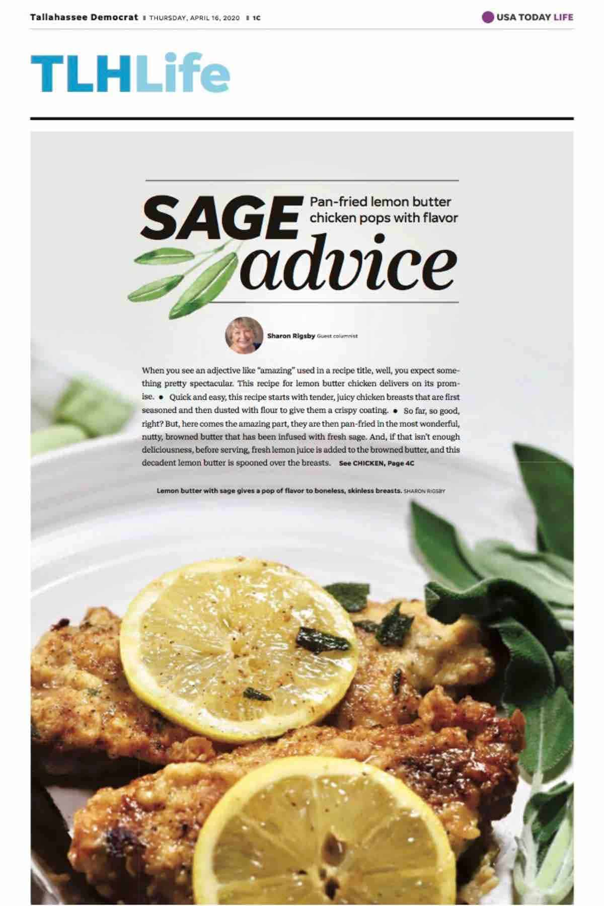 A copy of a recipe for lemon butter chicken in the Tallahassee Democrat.