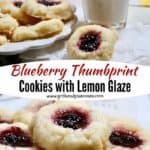 Pinterest pin with pictures of blueberry thumbprint cookies.