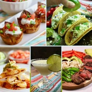 Collage of 5 Mexican dishes including tacos, fajitas, and a margarita.