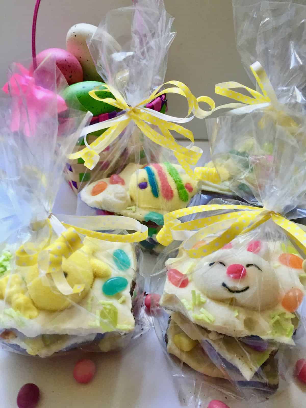Easter bunny bark packaged in cellophane bags.