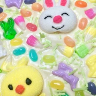 White chocolate bark topped with Easter candy.