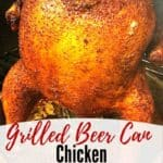 Pinterest pin for grilled beer can chicken.