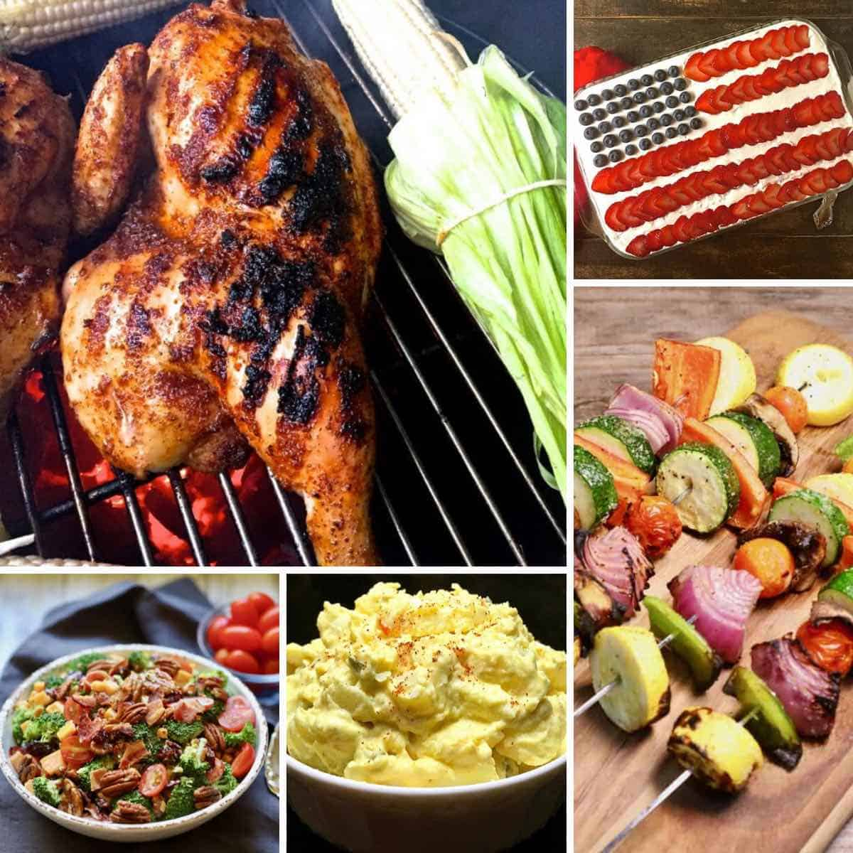 A college of images including grilled chicken, potato salad and an American Flag cake.